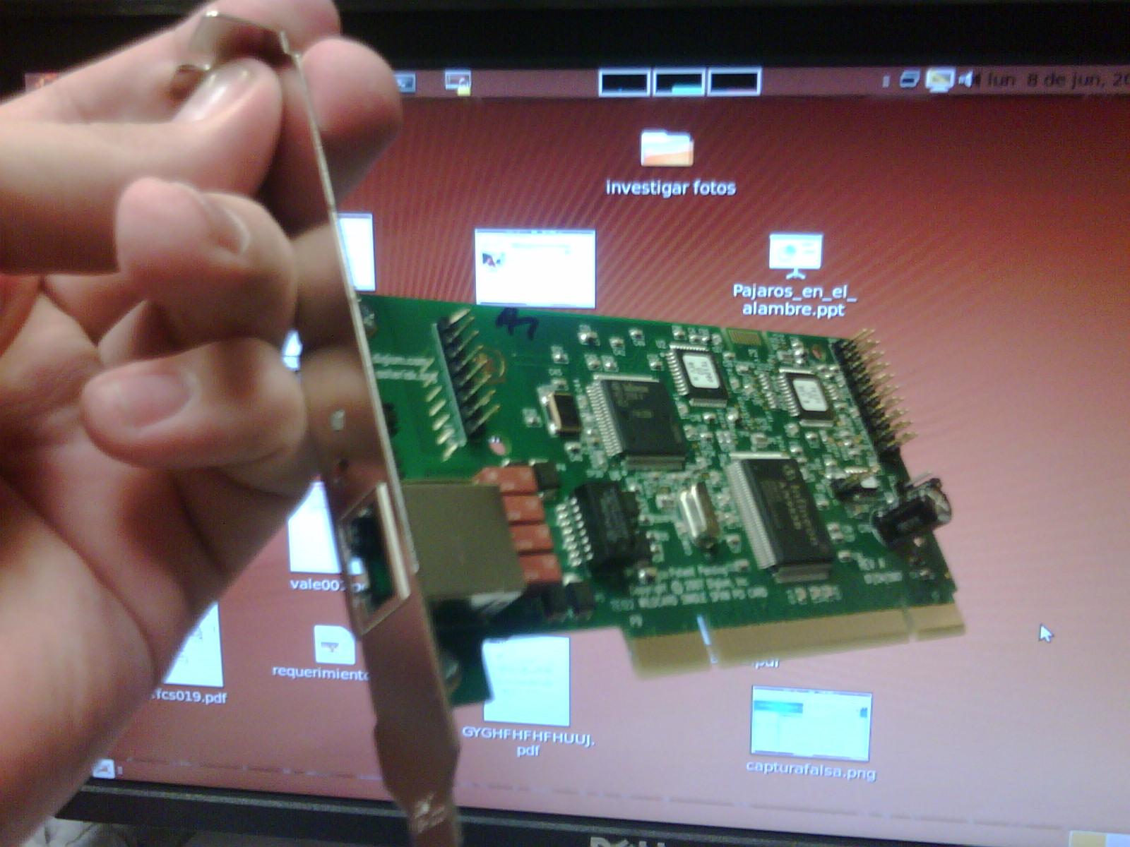 Vista de la tarjeta TE112P