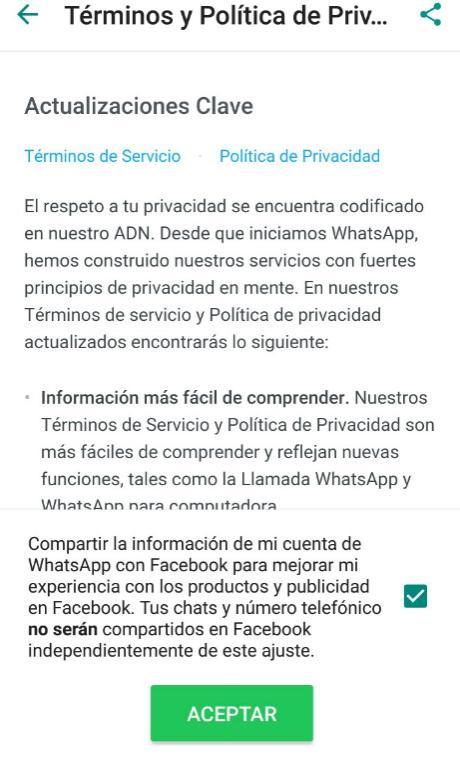 WhatsApp comparte información con Facebook